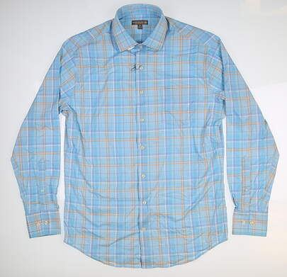 New Mens Peter Millar Button Up Medium M Blue MSRP $135 MS18EW16SL
