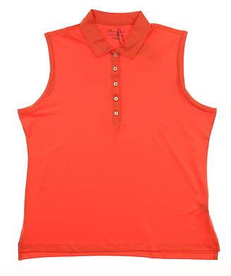 New Womens Peter Millar Sleeveless Golf Polo X-Large XL Orange MSRP $70