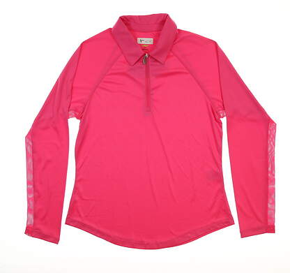 New Womens Greg Norman Long SleeveGolf Polo Small S Taffy Pink MSRP $80 G2S8K472