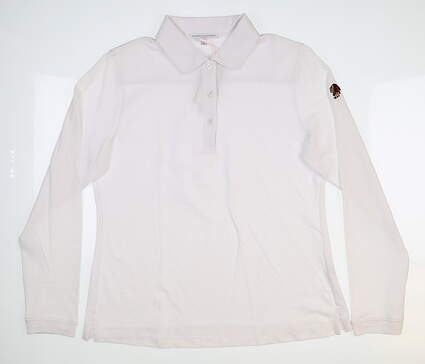 New W/ Logo Womens Fairway & Greene Long Sleeve Pique Golf Polo Large White G32231