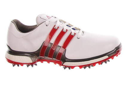 New Mens Golf Shoe Adidas Tour 360 Boost 2.0 Medium 9.5 White/Red MSRP $200