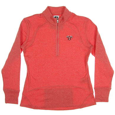 New W/ Logo Womens Footjoy Terry Back 1/2 Zip Pullover Small S Red MSRP $85 27552