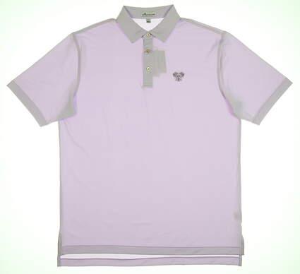 New W/ Logo Mens Peter Millar Golf Polo Large L Purple MSRP $92 MF18EK11S