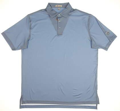 New W/ Logo Mens Peter Millar Golf Polo Large L Blue MSRP $95 MF18EK16S