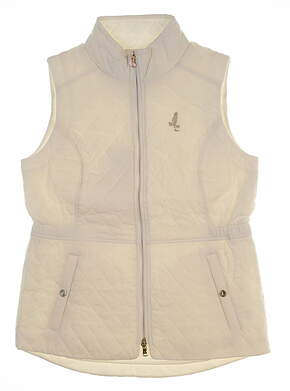New W/ Logo Womens Fairway & Greene Brinley Quilted Vest Small S Pearl MSRP $168 I12120