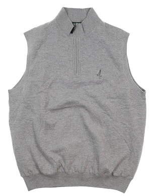 New W/ Logo Mens Fairway & Greene Merino 1/4 Zip Wind Sweater Vest Large L Gray 04116