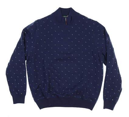 New W/ Logo Mens Fairway & Greene 1/4 Zip Sweater Large L Navy Blue H11241