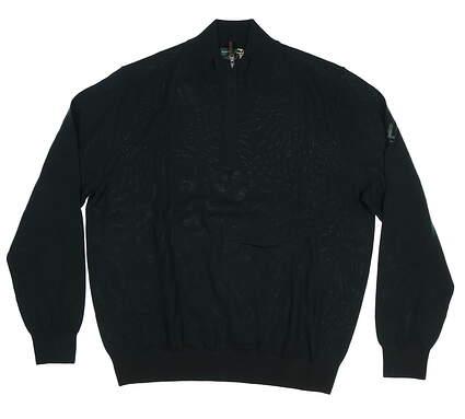 New W/ Logo Mens Fairway & Greene Baruffa Merino 1/4 Zip Sweater Large L Green E11143