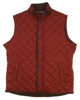 New W/ Logo Mens Peter Millar Quilted Golf Vest Large L Rust MSRP $175 MF17Z13