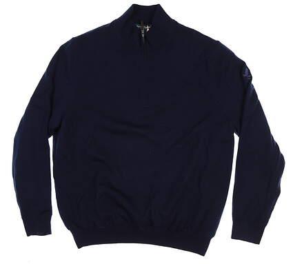 New W/ Logo Mens Fairway & Greene Merino 1/4 Zip Windsweater X-Large XL Navy 04112