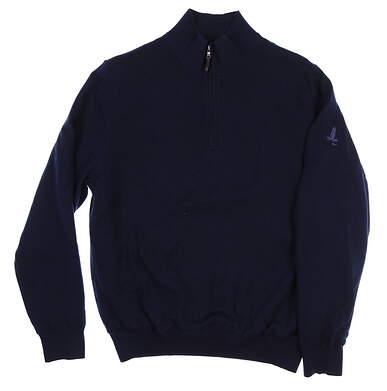 New W/ Logo Mens Fairway & Greene Merino 1/4 Zip Sweater Medium M Navy MSRP $190