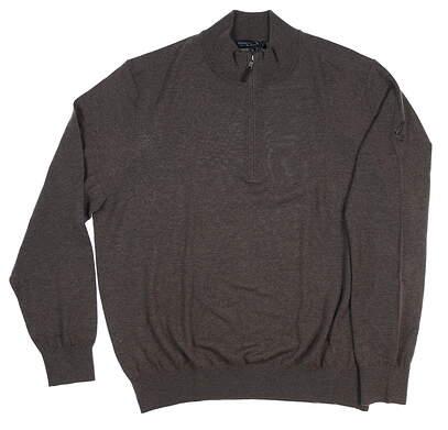 New W/ Logo Mens Fairway & Greene Baruffa Merino Sweater X-Large XL Brown MSRP $160
