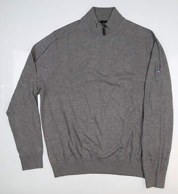 New W/ Logo Mens Fairway & Greene McCallan Blend 1/4 Zip Sweater Large L Gray MSRP $169
