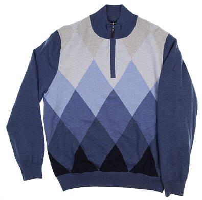 New W/ Logo Mens Fairway & Greene Homer Argyle Windsweater Large L Blue MSRP $225