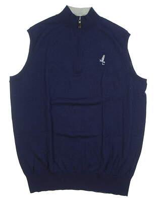 New W/ Logo Mens Peter Millar Golf Sweater Vest Medium M Navy Blue MSRP $145 MS18S02