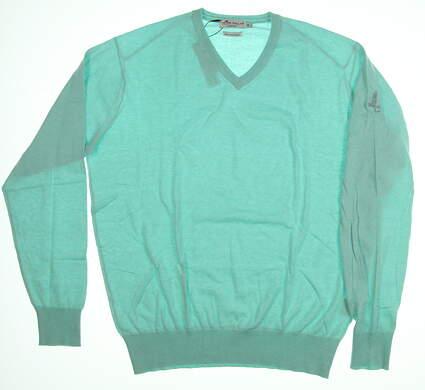 New W/ Logo Mens Peter Millar Golf Sweater Medium M Teal MSRP $135 MS18S05