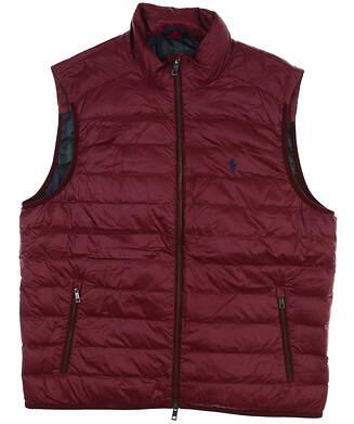 New W/ Logo Mens Ralph Lauren Golf Vest Large L Wine 781705595001 MSRP $175