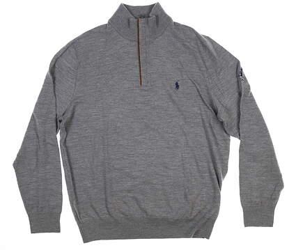 New W/ Logo Ralph Lauren Mens 1/2 Zip Sweater Gray Medium-M 20174 MSRP $189