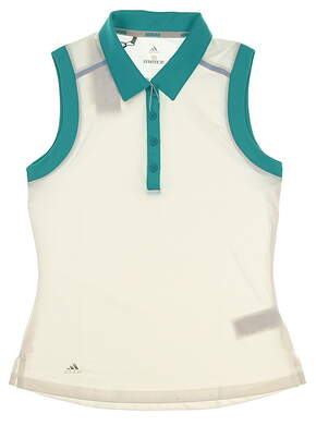 New Womens Adidas Golf Sleeveless Polo Small S White MSRP $60 CW665