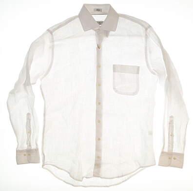 New Mens Peter Millar Linen Button Up Medium M White MSRP $119 MS18W03CSL
