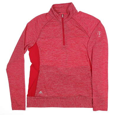New W/ Logo Womens Adidas Golf 1/4 Zip Pullover Large L Pink MSRP $76 BC6277