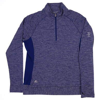 New W/ Logo Womens Adidas Rangewear 1/2 Zip Golf Pullover Large L Blue BC7382