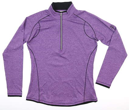 New W/ Logo Womens Footjoy 1/2 Zip Pullover Small S Heather Grape 27527