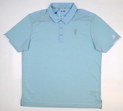 New W/ Logo Mens Adidas Climachill Tonal Stripe Polo X-Large XL Blue BC7445
