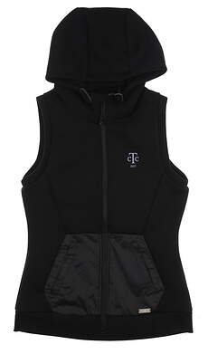 New W/ Logo Womens Level Wear Golf Hooded Vest Medium M Black MSRP $115 Dh01L