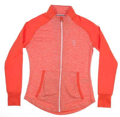 New W/ Logo Womens Footjoy Golf Full Zip Mock Neck Large L Papaya MSRP $130 22326