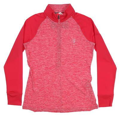 New W/ Logo Womens Under Armour Golf 1/2 Zip Pullover Medium M Pink MSRP $79 UW2351