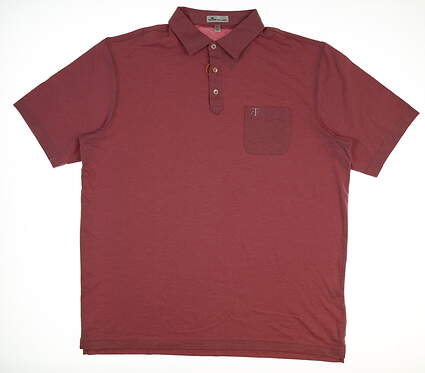 New W/ Logo Mens Peter Millar Golf Polo X-Large XL Pink MSRP $93