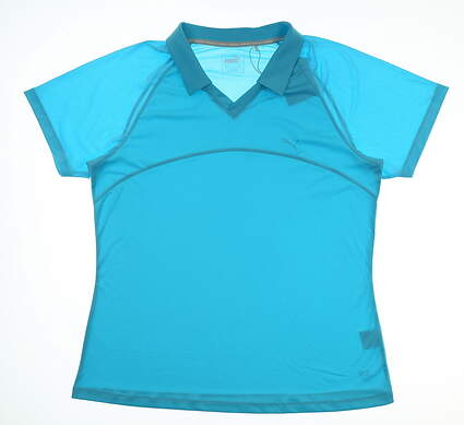 New Womens Puma Mesh Polo Large L Blue Atoll MSRP $66 TC6474