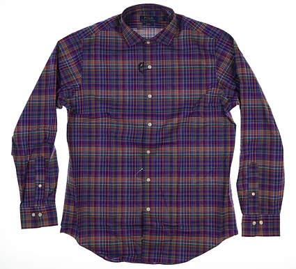 New Mens Ralph Lauren Plaid Button Up Medium M Purple MSRP $99 781664198001