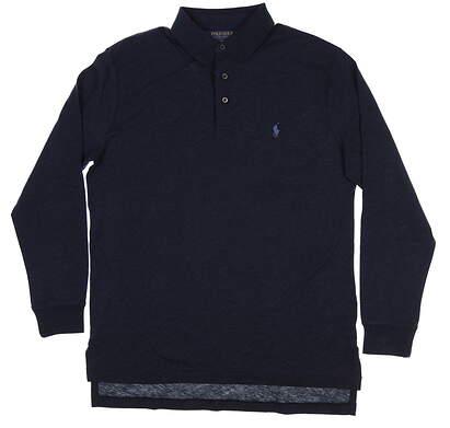 New Mens Ralph Lauren Golf Long Sleeve Polo Medium M Navy Blue MSRP $90 781706794002