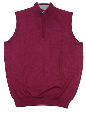 New Mens Peter Millar Vest Large L Winter Berry Magenta MF18S54 MSRP $168.99
