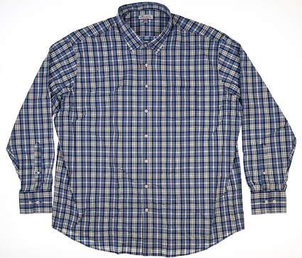 New Peter Millar Button Up XX-Large XXL Blue MSRP $136 MF18EW08BL