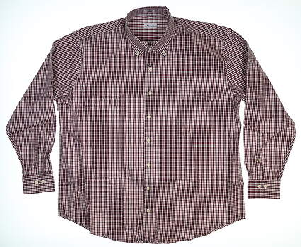 New Peter Millar Button Up XX-Large XXL Maroon/White MSRP $146 MF18W03NBL