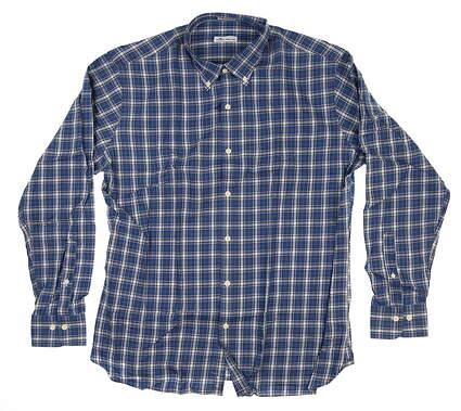 New Mens Peter Millar Long Sleeve Large L Blue/White/Black/Orange MF18W67CVL MSRP $145