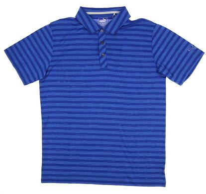 New Mens Puma ESS Mixed Stripe Polo Crest Medium M Blue 571864 MSRP $60