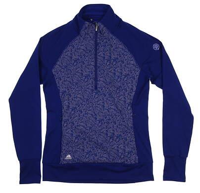 New W/ Logo Womens Adidas 1/4 Zip Primaloft Jacket Medium M Blue BC5272