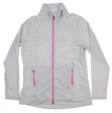 New Womens Peter Millar Jacket Large L Gray/White/Pink LF17EK15E MSRP $140