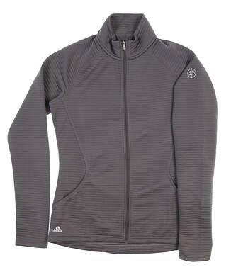 New W/ Logo Womens Adidas Full Zip Mock Neck Small S Gray BC2272