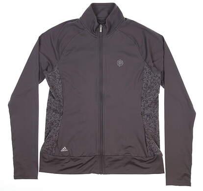 New W/ Logo Womens Adidas Golf Full Zip Mock Neck Medium M Gray BC7386