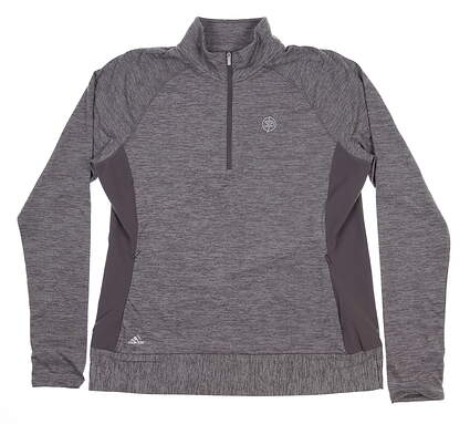 New W/ Logo Womens Adidas 1/4 Zip Pullover Large L Gray BC7380