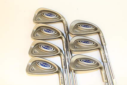 Ping i5 Iron Set 3-PW Stock Steel Shaft Steel Stiff Right Handed Blue Dot 38 in