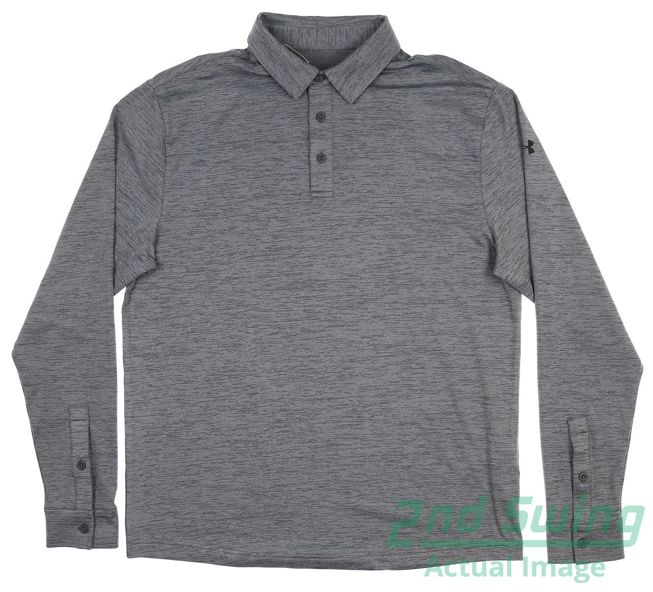 cfe49fa961 New Mens Under Armour Long Sleeve Playoff Polo Large L Gray UM0815 ...