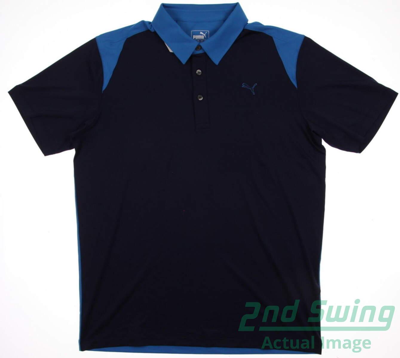 premium selection 4f27f 8905c New Mens Puma Color Block Dry Cell Golf Polo Medium Peacoat Cloisonne  569107 MSRP  65