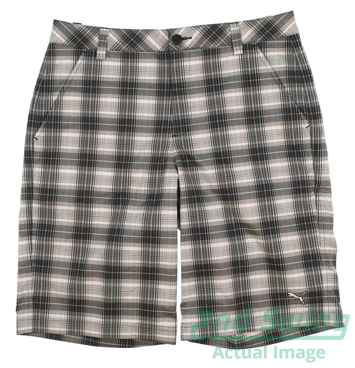 7a230f5408e0 New Mens Puma Plaid Tech Dry Cell Wicking Golf Shorts Size 32 Black 565518  MSRP  70