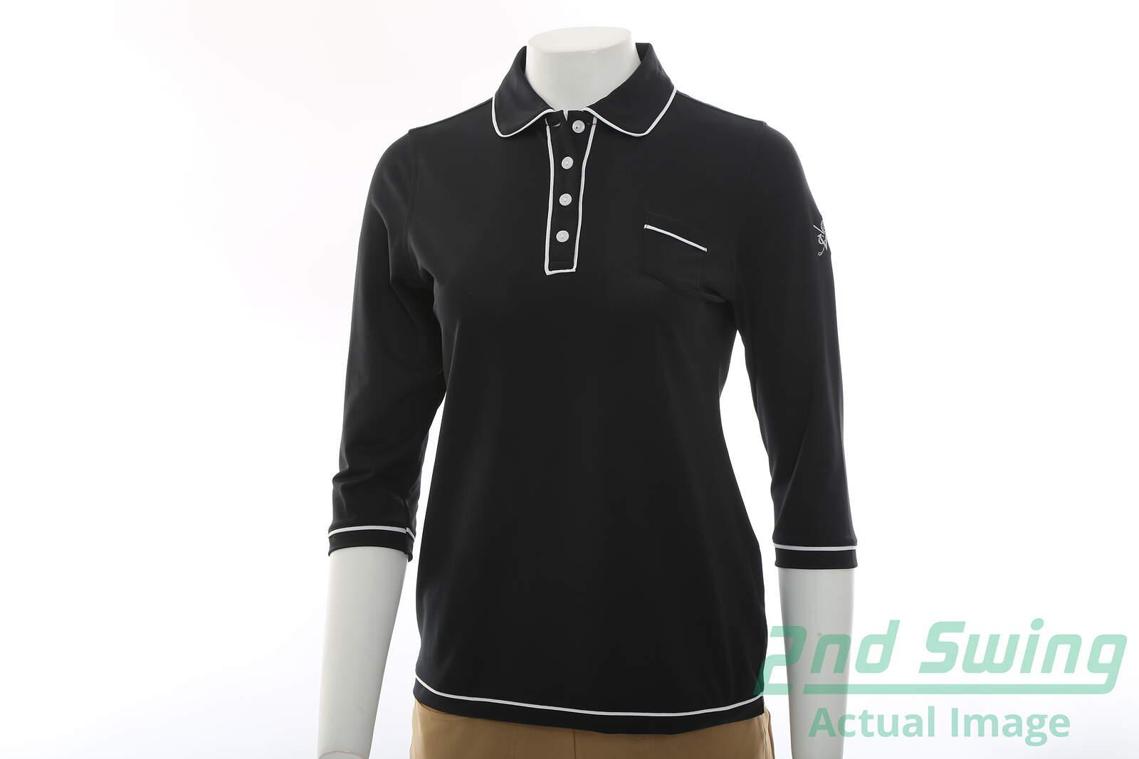 New W Logo Womens Peter Millar Golf 3 4 Sleeve Polo Small